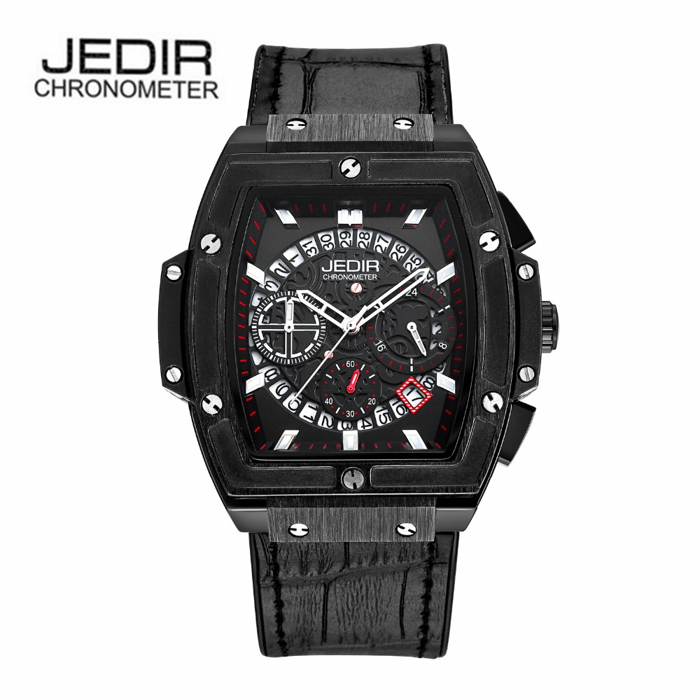 JEDIR Brand Men Watch Clock Hour Time Waterproof Leather Calendar Chronograph New Style Sports Male Watches 2017 Quartz Watch  jedir brand men sports watches 2017 genuine leather military wristwatch racing men chronograph watch male glow hands clock
