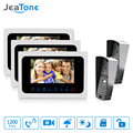 "JeaTone 7"" LCD TFT Color Video Door Phone Doorbell 2 to 3 Intercom System with IR Night Vision for Villa Home Take Photo"