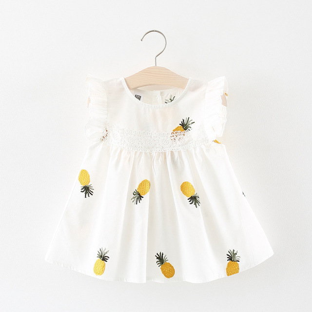 Baby Girls Clothes Summer Baby Dress Frill Sleeve Newborn Infant Dresses Cotton Pineapple Sleeveless Toddler Dresses 2