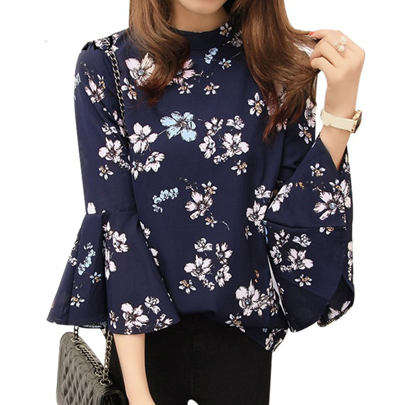 Women Fashion New Chiffon Floral Print Shirt 3/4 Ruffles Sleeve Shirts Blouses Tops 2017