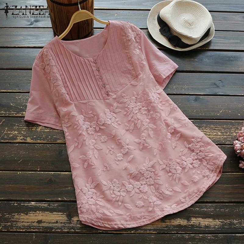 Summer Blouse Plus Size Women Embroidery Blusas 2018 ZANZEA Casual Patchwork Linen Shirt Work Tos Tunic Blusa Feminina Oversized
