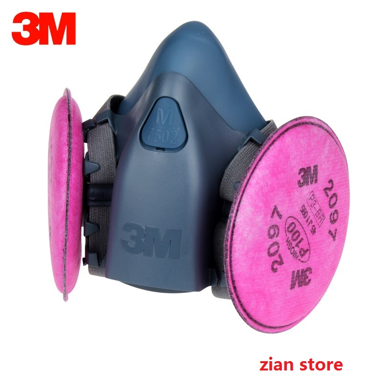 ФОТО hot sale 3M high quality 7502 2097 Respirator P100 Protection industrial paint filter mask smoke respirator pm2.5 silicone mask