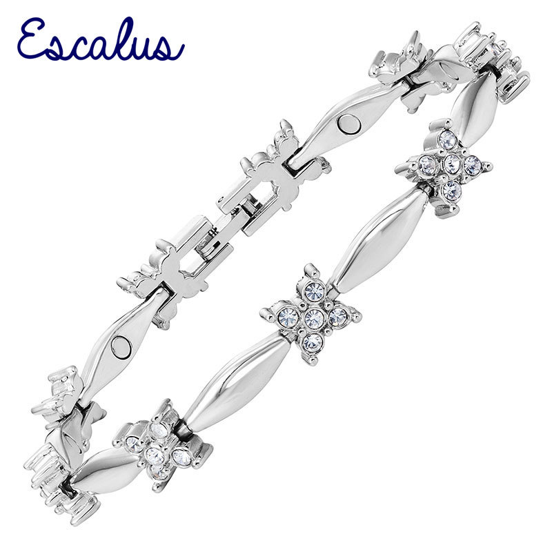 Women Silver Magnetic Bracelet pcs Clear Color Crystals Bangle Ladies Romantic Jewelry