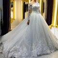 Vendimia de Manga Larga de Encaje Vestidos de Novia de Tul Una Línea País Occidental Vestidos de Novia Weding Nupcial Vestidos de Novia vestido de novia