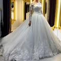 Vintage Lace Manga Comprida Vestidos de Casamento Tulle A Linha Do Casamento Do País Ocidental Vestidos Weding vestido de Noiva Vestidos de Noiva vestido de novia