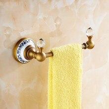 Barras de toalla Vintage de latón macizo, soporte de toalla de un solo carril de acabado dorado, colgador de toallas de baño estante de pared montado decoración del hogar