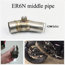 ERN Motorcycle Exhaust Muffler Link Connect Pipe Stainless Steel Slip on for Kawasaki ER6N 2012-2016