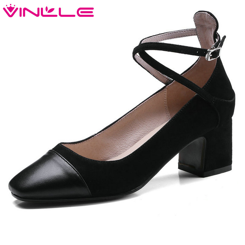 VINLLE 2018 Women Pumps Pointed Toe Genuine Leather Cross-strap Black Square Med Heel Ladies Wedding Shoes Size 34-39 pu pointed toe flats with eyelet strap