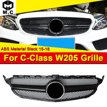 W205 Grills Front Grill ABS Gloss Black Fits For MercedesMB C-Class Sports C180 C200 C250 Bumper Grille Mesh 2015-18