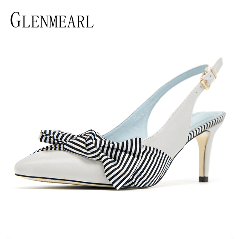 Women Pumps High Heels Shoes Brand Stripe Butterfly knot Summer Shoes Woman Thin Heels Pointed Toe Ladies Dress Shoes Black DE brand women pumps high heels shoes leather spring wave point single women dress shoes thin heels pointed toe party pumps lady de