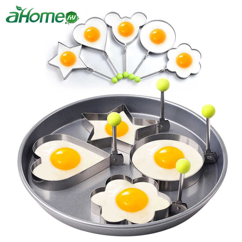 5pcs/set Fried Egg Mold Heart Shape Frying Egg Tool Ring Pancake Mold Stainless Steel Mold Cooking Kitchen Tools Cake Cutter