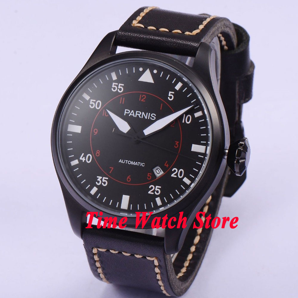 цена 47mm parnis black dial luminous date window PVD case 21 jewels MIYOTA automatic movement men's watch 561 онлайн в 2017 году