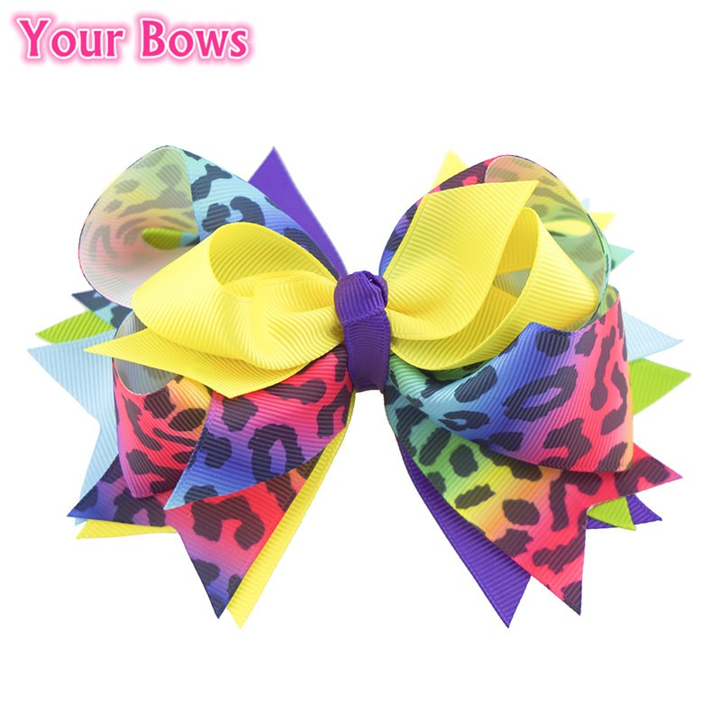 Your Bows 1PC 5.5 Inch Rainbow Leopard Girls Hair Bows Polyester Bows - Accesorios para la ropa - foto 3