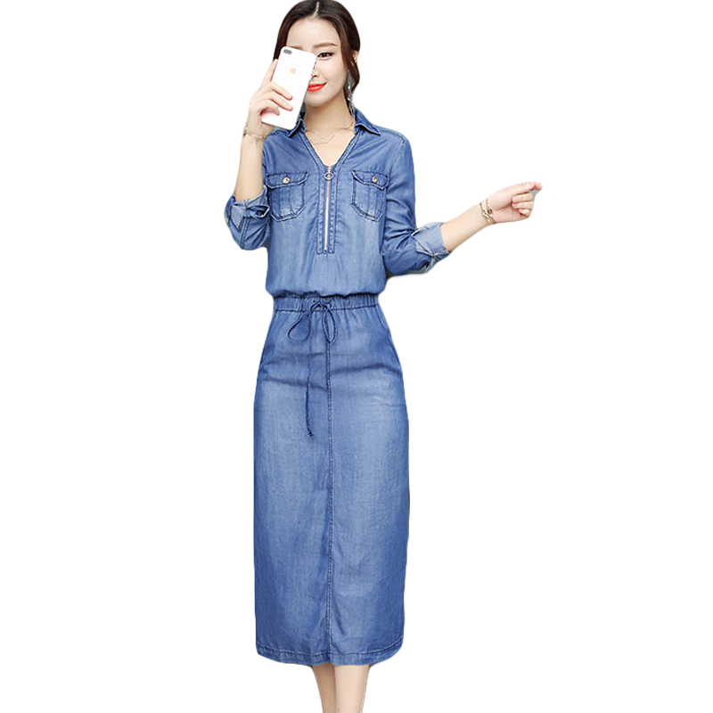 2018 Spring Autumn Women Denim Dresses Washed Blue Female Long Sleeve Jeans Dress Casual Ziper V Neck Slim Waist Vestidos CM2160