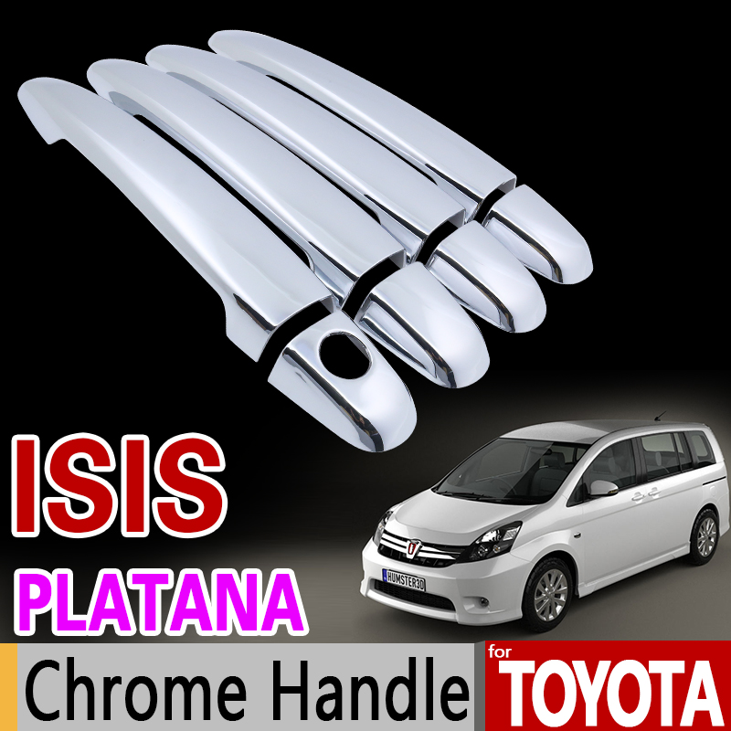 for Toyota ISIS Platana 2004 - 2015 Chrome Handle Cover Trim Set 2005 2006 2007 2008 2010 2012 2013 2014 Accessories Car Styling for suzuki splash 2007 2014 chrome handle cover trim set of 4door 2008 2009 2010 2011 2012 2013 accessories sticker car styling