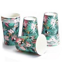 Tropical Party Toucan Palm Leaves Disposable Paper Cups 9 oz. Jungle Safari Animal Luau Hawaiian