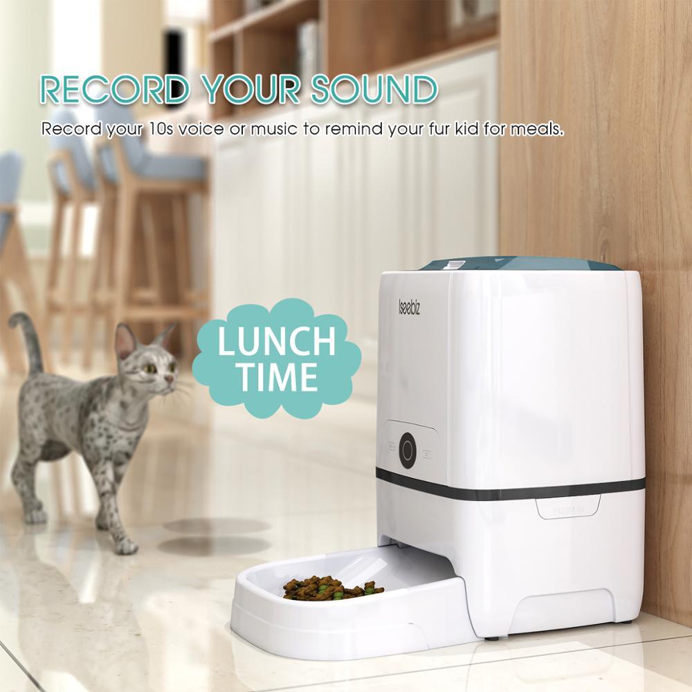 Iseebiz automatyczny karmnik dla psa z WiFi dozownik karmy dla zwierząt 6 posiłków dyktafon i Timer programowalna kontrola porcji
