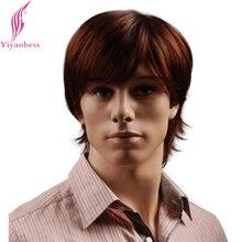 Yiyaobess 8 inch Пухлые Синтетические Красно-Коричневый Короткие Мужские Парик Натуральный Мужской Волос Бесплатная Доставка
