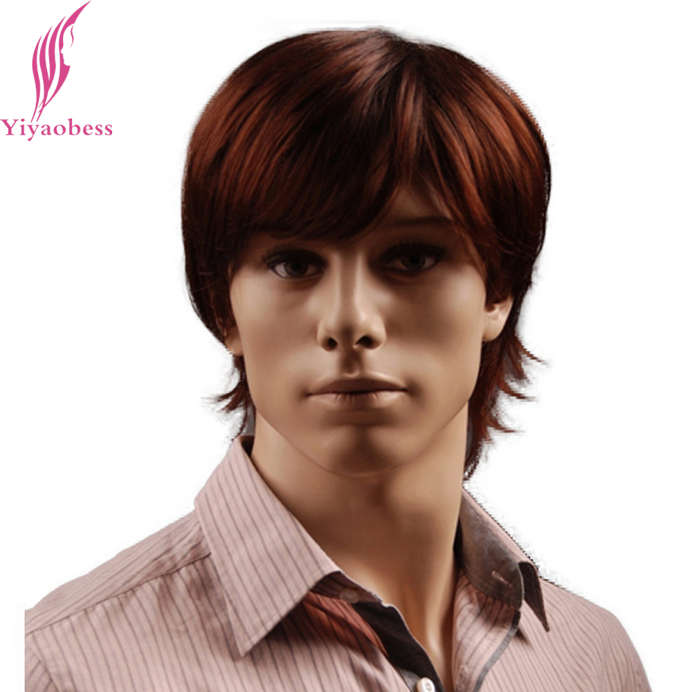 Yiyaobess 8inch Puffy Synthetic Reddish Brown Short Mens Wig Natural Male Hair Free Shipping