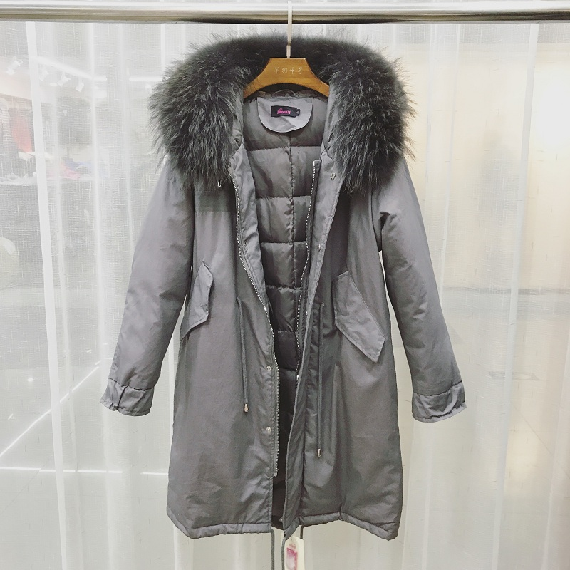 Big Real Natural Raccoon Fur 2018 Long Female   Coat   Plus Size Parka Winter Jacket Women Warm Hooded   Coat   White Duck   Down   Jacket