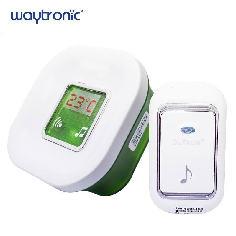 Long Range Wireless Electric Digital Doorbell Waterproof 220V Ding Dong Door Chime With Temperature Display Big Doorbell Button
