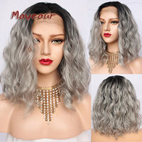 Maycaur 2 Tones Black Ombre Gray Synthetic Lace Front Wigs Dark Roots Short Wavy Hair Heat Resistant Fiber Grey Hair For Women