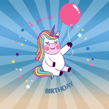 Laeacco Baby 1 Birthday Unicorn Balloon Radiation Stripe Photo Background Customized Photography Backdrops For Studio