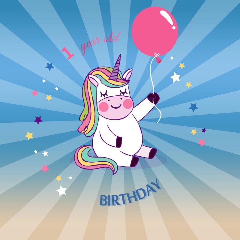 Laeacco Baby 1 Birthday Unicorn Balloon Radiation Stripe Photo Background Customized Photography Backdrops For Photo Studio