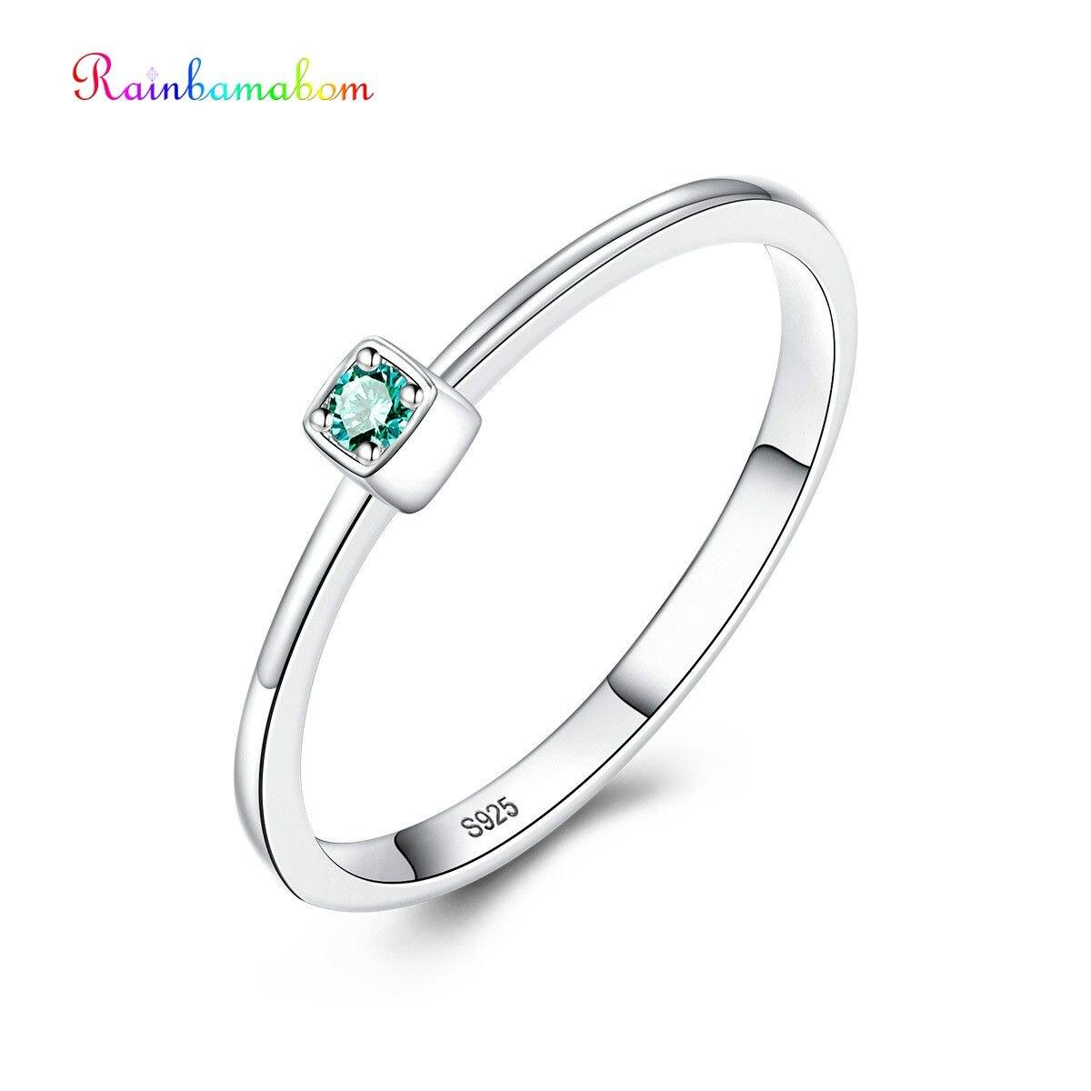 Rainbamabom Classic 925 Solid Sterling Silver Emerald Gemstone Wedding Engagement Ring Women Jewelry Wholesale Drop Shipping