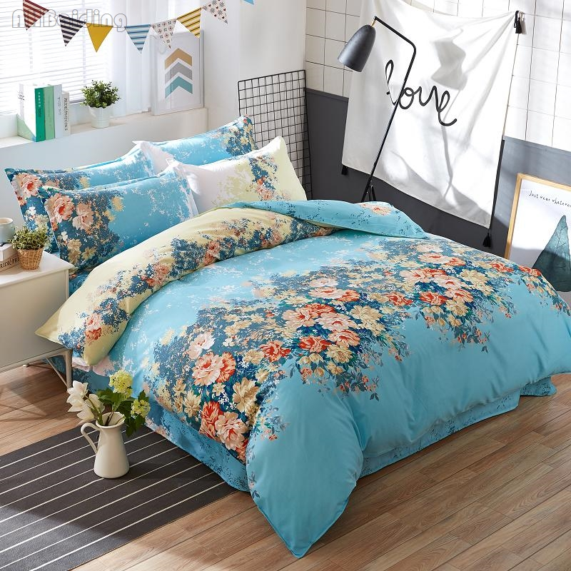 Blue Chrysanthemum Printed Bedding Set Cotton Bed Linens for Kids 3/4pcs Bed Set Bedclothes Duvet Cover Flat Sheet Pillowcases