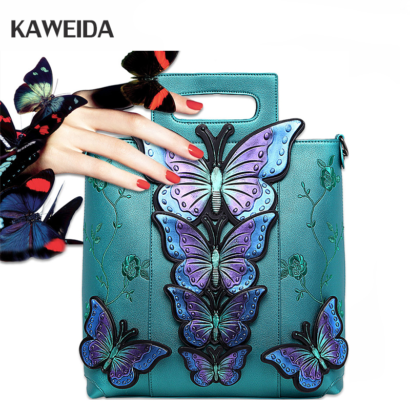 2018 New Women Butterfly Embroidered Tote Bag Painted Animal Shoulder Bags Big Pu Leather Bolsos Floral Party Handbag Luxury pu leather front zip floral shoulder bag