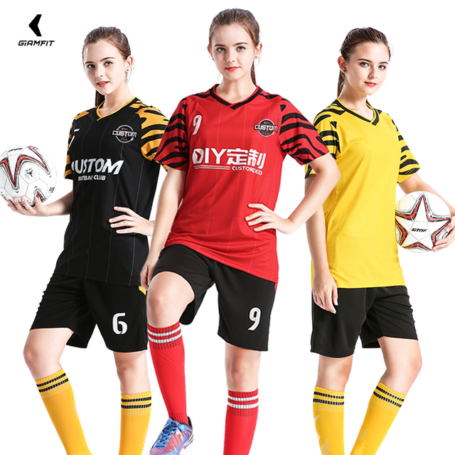 JIANFEI Adults Women Football Jerseys Soccer Sets Sport Shirt Team Training  Uniform Red Polyester DIY Customize Number Name Logo 2fd5aaca6a
