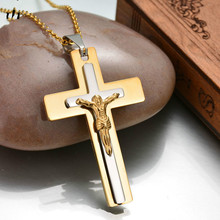 Mens Necklace Jewelry Christian Jesus Crucifixion Stainless Steel jesus statue