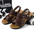 2015New Summer Men Casual Sandals Leisure Soft Bottom Fashion Beach Sandals Men leather outdoor shoe flats Size38-45freeshipping