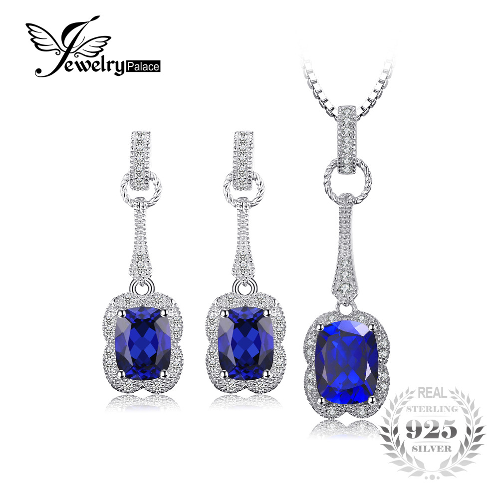 JewelryPalace Elegant Rectangle 6.6ct Created Sapphire Drop Dangle Earrings Pendant Necklace 925 Sterling Silver For Women a suit of fashionable faux gem rectangle necklace and earrings for women