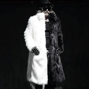 Роскошные зимние мужские длинные пальто из искусственного меха, теплые толстые куртки из лисьего меха, большие размеры XXXL 4XL, белая черная п...
