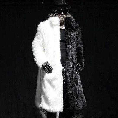 Luxury Winter Men Long Faux Fur Coats 2017 Warm Thick Fox Fur Jackets Plue Size XXXL 4XL White Black Parka Coat Windbreaker Robe