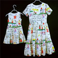 Family matching clothes white graffiti prints short sleeves princess dress women girls summer skirts mother and daughter dresses