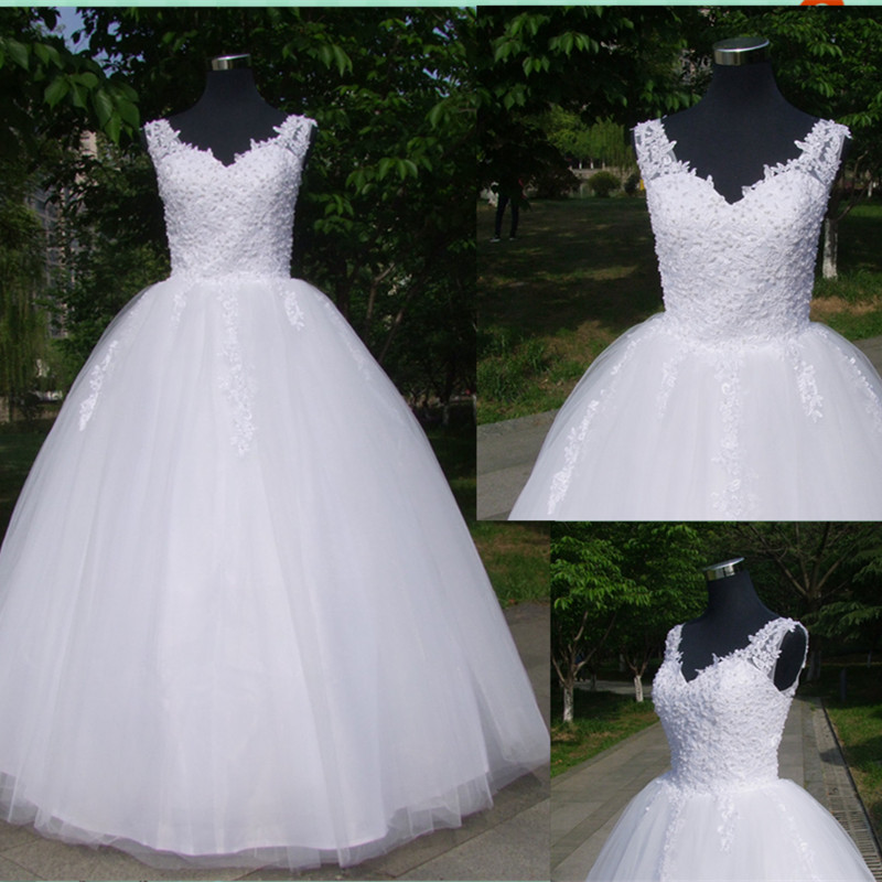 Garden Vestido De Noiva Ball Gowns Spaghetti Straps White Ivory Tulle Country Wedding Dresses 2020 With Pearls Bridal Dress