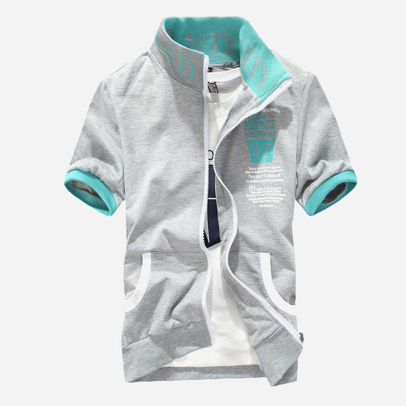 男性の手紙プリントスタンド襟ジッパーシャツ Sportsuit カプリショーツカジュアル 2 個セットプラス 5XL 2019 夏男性ストリートセット