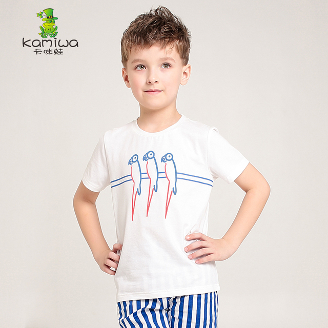 KAMIWA New 2017 Summer Style Teenage Boys cotton t-shirt shorts white bird T Shirts Children's clothing baby Tees kids clothes