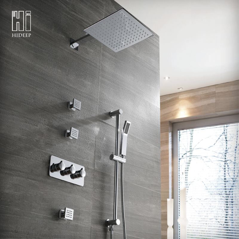 HIDEEP Wall Mounted Hot And Cold Model Rainfall Shower Head Polished Chrome Faucet Solid Brass Bathroom Shower Set Combo SetHIDEEP Wall Mounted Hot And Cold Model Rainfall Shower Head Polished Chrome Faucet Solid Brass Bathroom Shower Set Combo Set