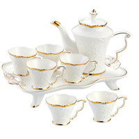 Europäische Keramik Haushalt Tee Tasse Set Einfache Wohnzimmer Wasser Mit Wärme beständig Tee Set Teekanne Kreative Kaffee Becher wasser Tasse-in Teegeschirr-Sets aus Heim und Garten bei