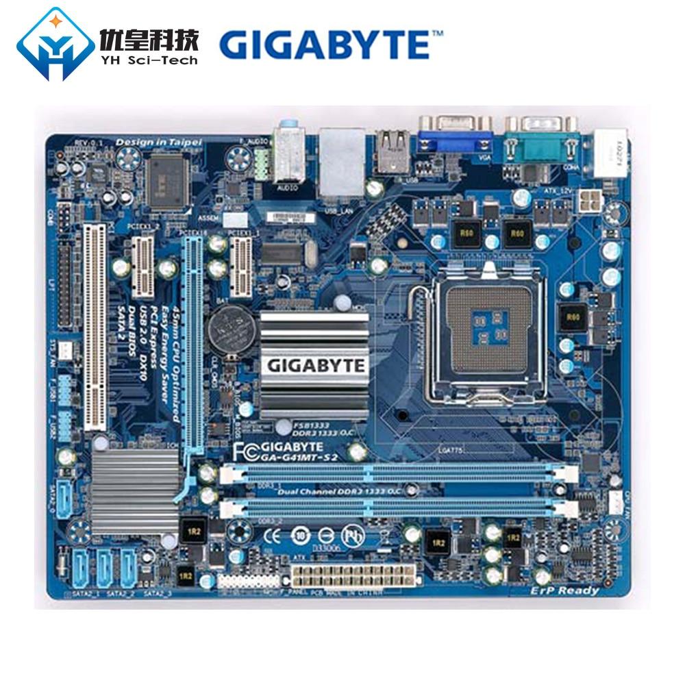 Original Used Desktop Motherboard Gigabyte GA-G41MT-S2 LGA 775 DDR3 8GB Micro-ATX