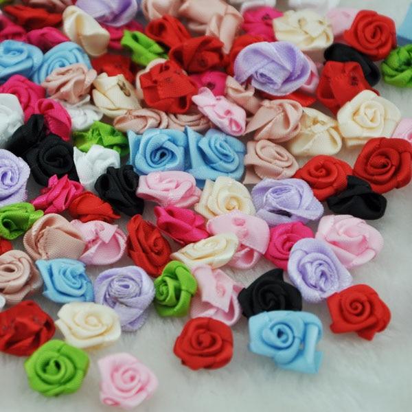 100pcs rose ruban satin gros Pivoine Fleur Appliques//Mariage//Décoration