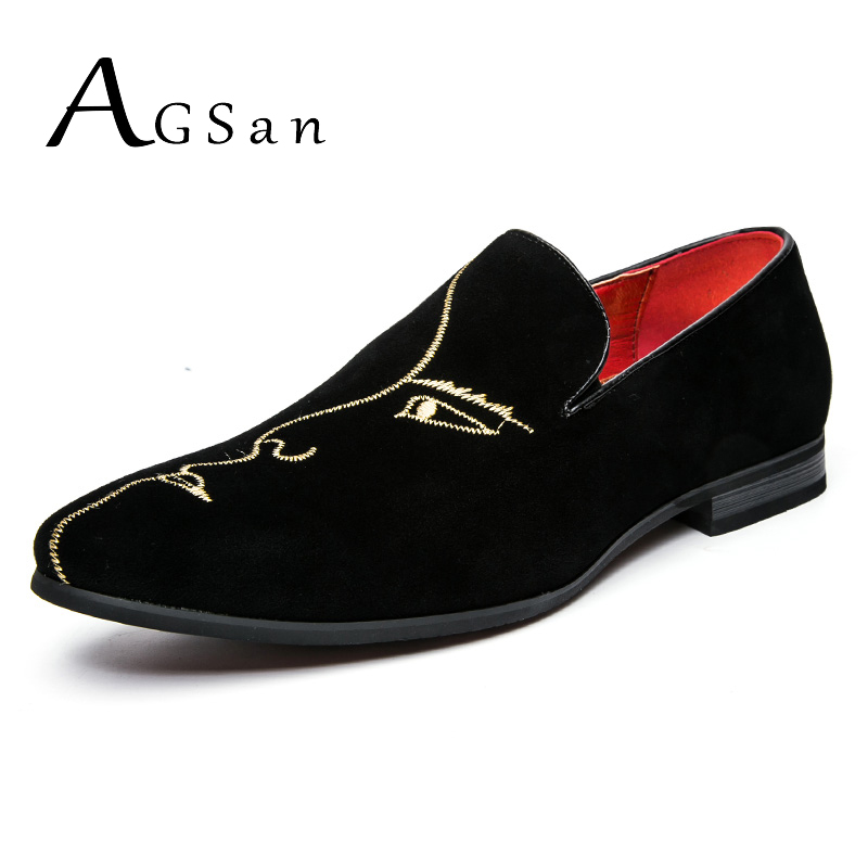 AGSan 2018 Spring Men Loafers Black Embroidery Face Pattern Men Velvet Shoes Handmade Luxury ...