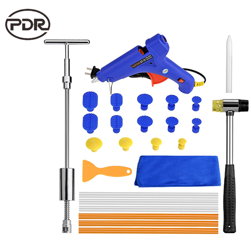 PDR Paintless Dent Repair Tool Car Body Repair Kit Dent Puller Kit Slide Hammer Reverse Hammer Glue Tabs Suction Cups Hammer Set  paintless dent repair tool pdr kit dent lifter glue gun line board slide hammer dent puller glue tabs suction cup pdr tool set