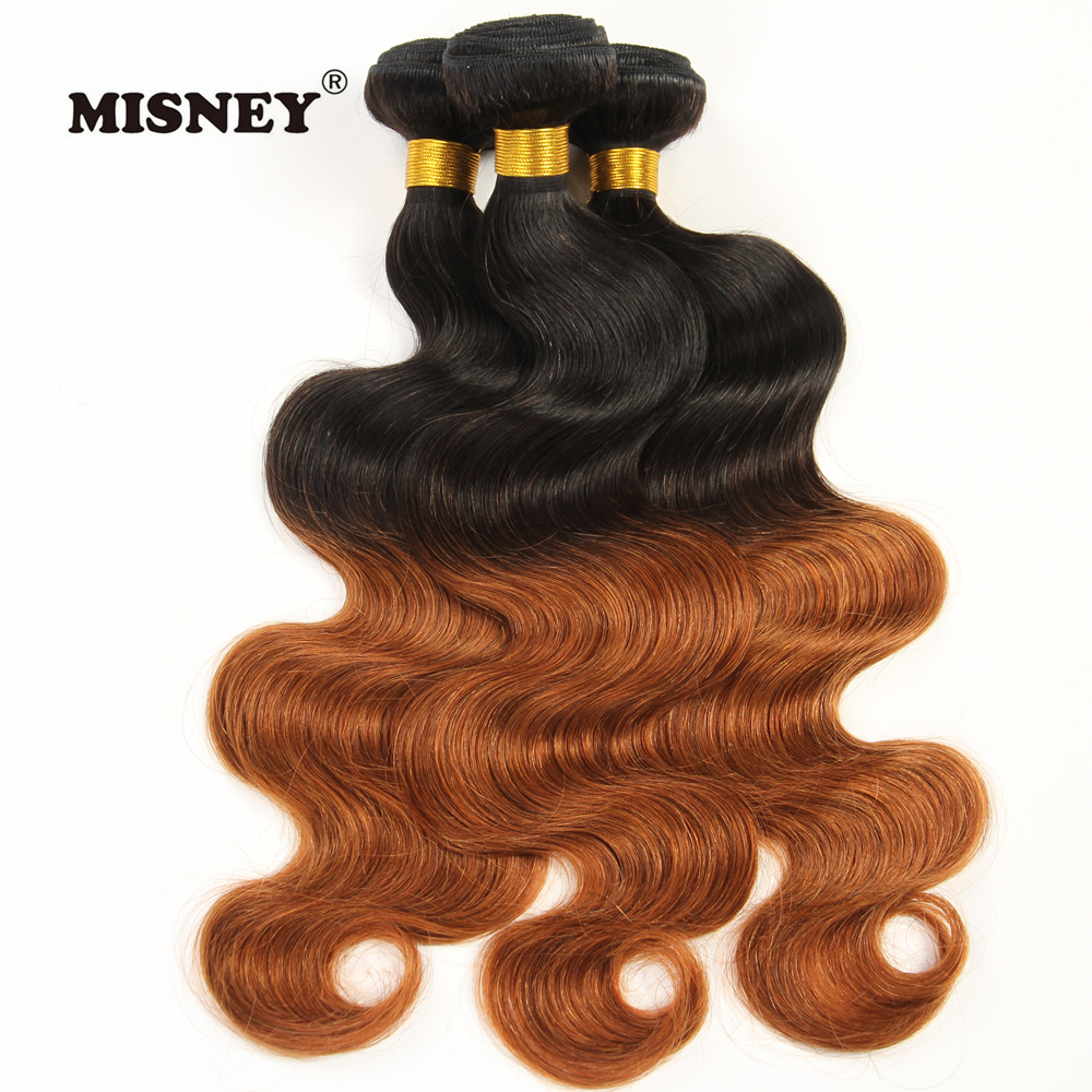 Brazilian Non Remy Hair Weave 3 Bundles Body Wave Ombre Two Tone T1B/30 Human Hair Weft 12-30 Inch