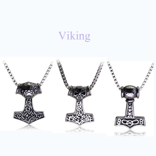 Movie Jewelry Viking Pendant Necklace Norse Odin Thor's Hammer Mjollnir Necklace Punk Vintage Style Men Women Collares Jewelry