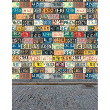 TR Photographic Camera Backgrounds Licence Plate Wall Brick Floor Children Kids Backdrops for Photo Studio Street Backgrounds